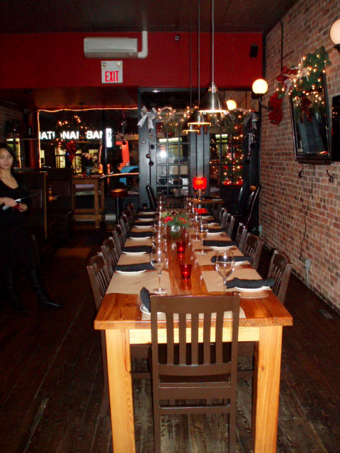 Communal table prepared for New Year's Eve diners