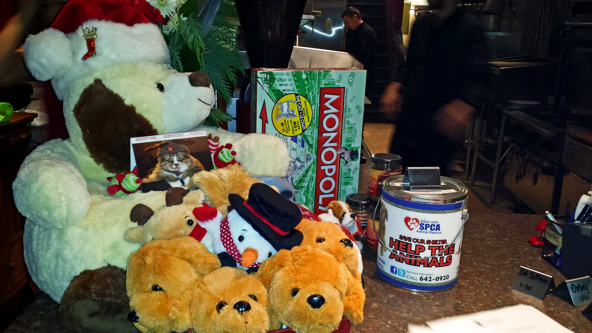 Tips, toys and our donation table - all for the Saint John SPCA Animal Rescue.
