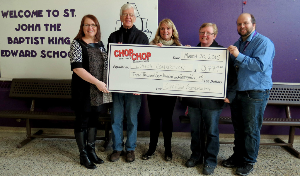 Chop Chop cheque presentation to Lunch Connection