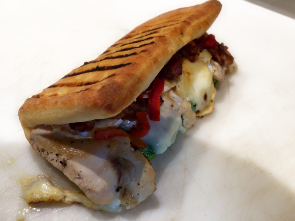 Our euro-wrap, grilled chicken breast with a balsamic glaze drizzle.
